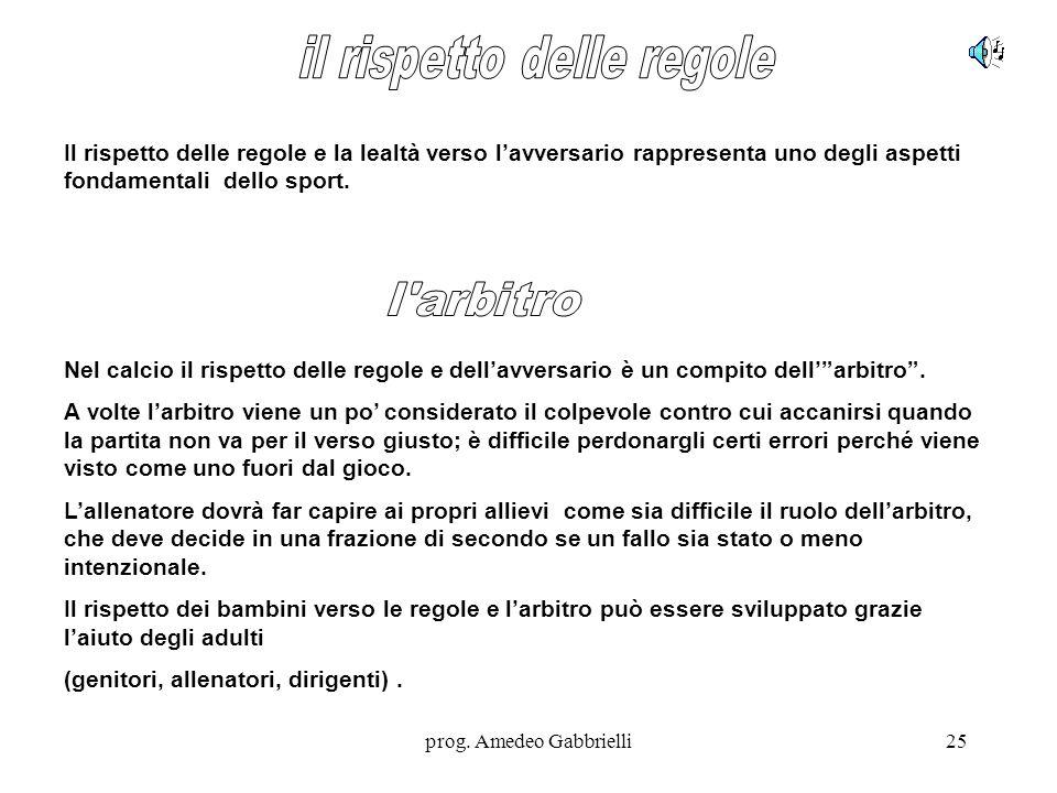 prog. Amedeo Gabbrielli25 Il rispetto delle regole e la lealtà verso l'avversario rappresenta uno degli aspetti fondamentali dello sport. Nel calcio i