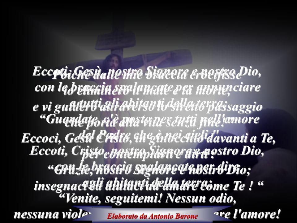 """Eccoti, Gesù, nostro Signore e nostro Dio, con le braccia spalancate per annunciare a tutti gli abitanti della terra: """"Guardate, c'è posto per tutti n"""