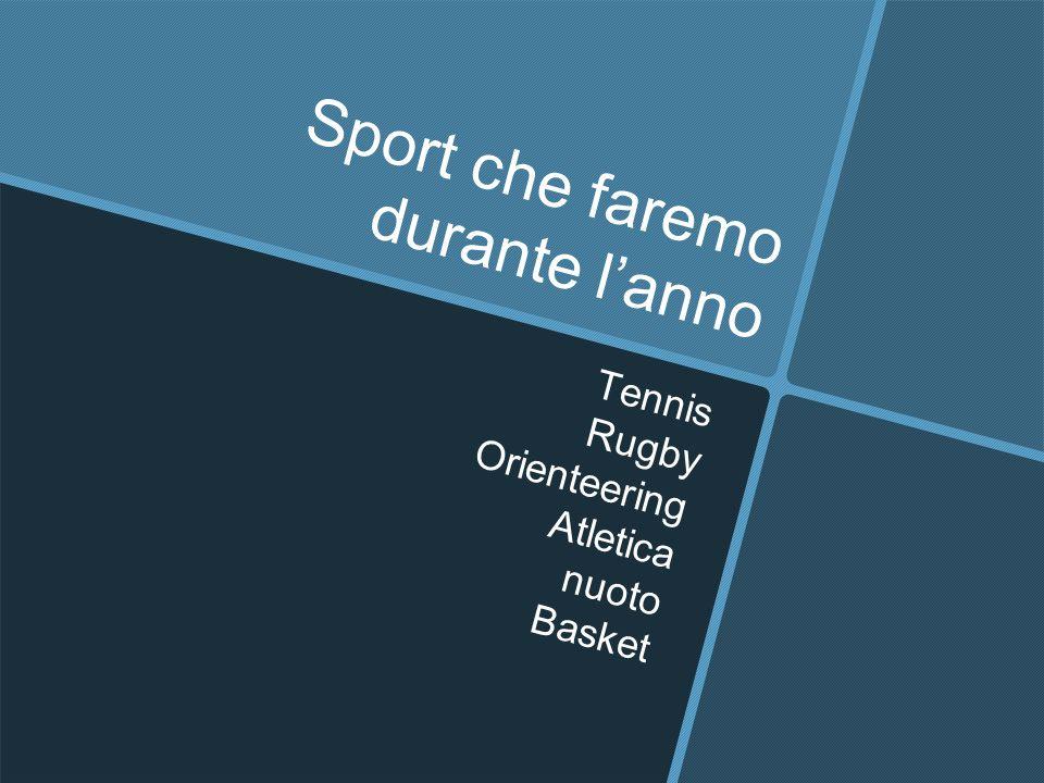 Sport che faremo durante l'anno Tennis Rugby Orienteering Atletica nuoto Basket