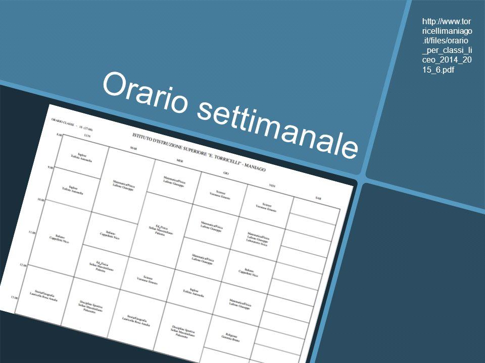 Orario settimanale http://www.tor ricellimaniago.it/files/orario _per_classi_li ceo_2014_20 15_6.pdf