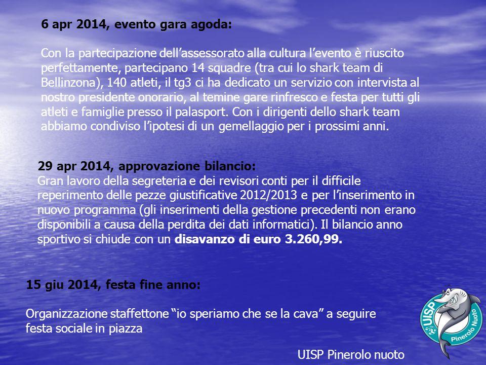 UISP Pinerolo nuoto 6 apr 2014, evento gara agoda: Con la partecipazione dell'assessorato alla cultura l'evento è riuscito perfettamente, partecipano