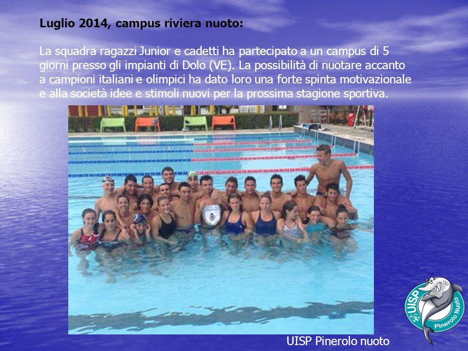 UISP Pinerolo nuoto Luglio 2014, campus riviera nuoto: La squadra ragazzi Junior e cadetti ha partecipato a un campus di 5 giorni presso gli impianti di Dolo (VE).