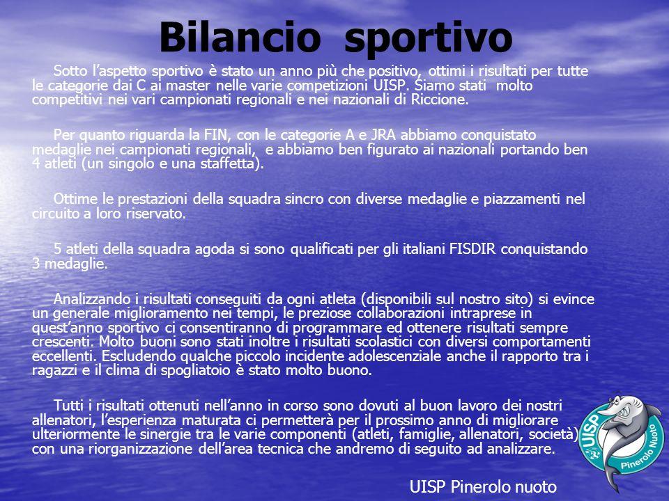Bilancio sportivo Sotto l'aspetto sportivo è stato un anno più che positivo, ottimi i risultati per tutte le categorie dai C ai master nelle varie competizioni UISP.