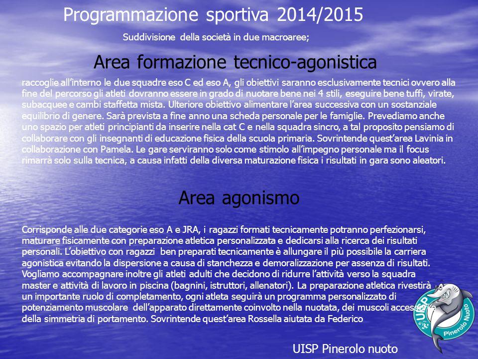 Programmazione sportiva 2014/2015 raccoglie all'interno le due squadre eso C ed eso A, gli obiettivi saranno esclusivamente tecnici ovvero alla fine d