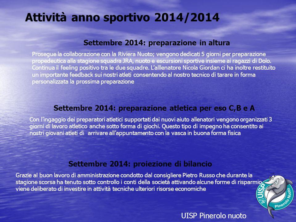 UISP Pinerolo nuoto Attività anno sportivo 2014/2014 Settembre 2014: preparazione in altura Prosegue la collaborazione con la Riviera Nuoto; vengono d