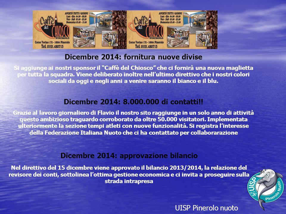 UISP Pinerolo nuoto Dicembre 2014: approvazione bilancio Nel direttivo del 15 dicembre viene approvato il bilancio 2013/2014, la relazione del revisore dei conti, sottolinea l'ottima gestione economica e ci invita a proseguire sulla strada intrapresa Dicembre 2014: 8.000.000 di contatti!.