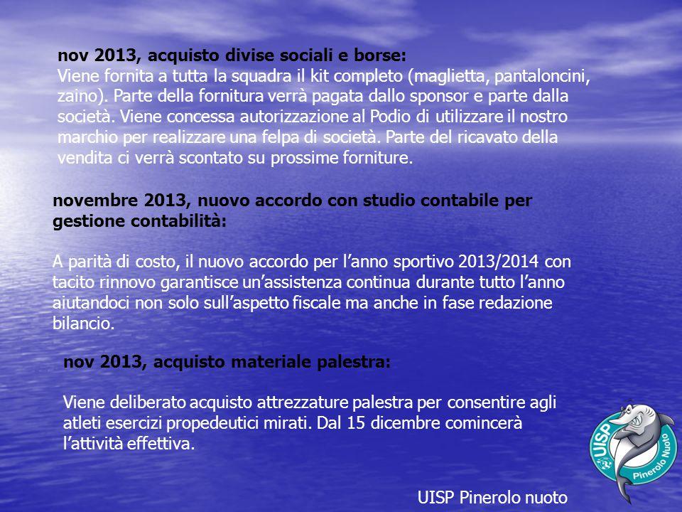 UISP Pinerolo nuoto nov 2013, acquisto divise sociali e borse: Viene fornita a tutta la squadra il kit completo (maglietta, pantaloncini, zaino).