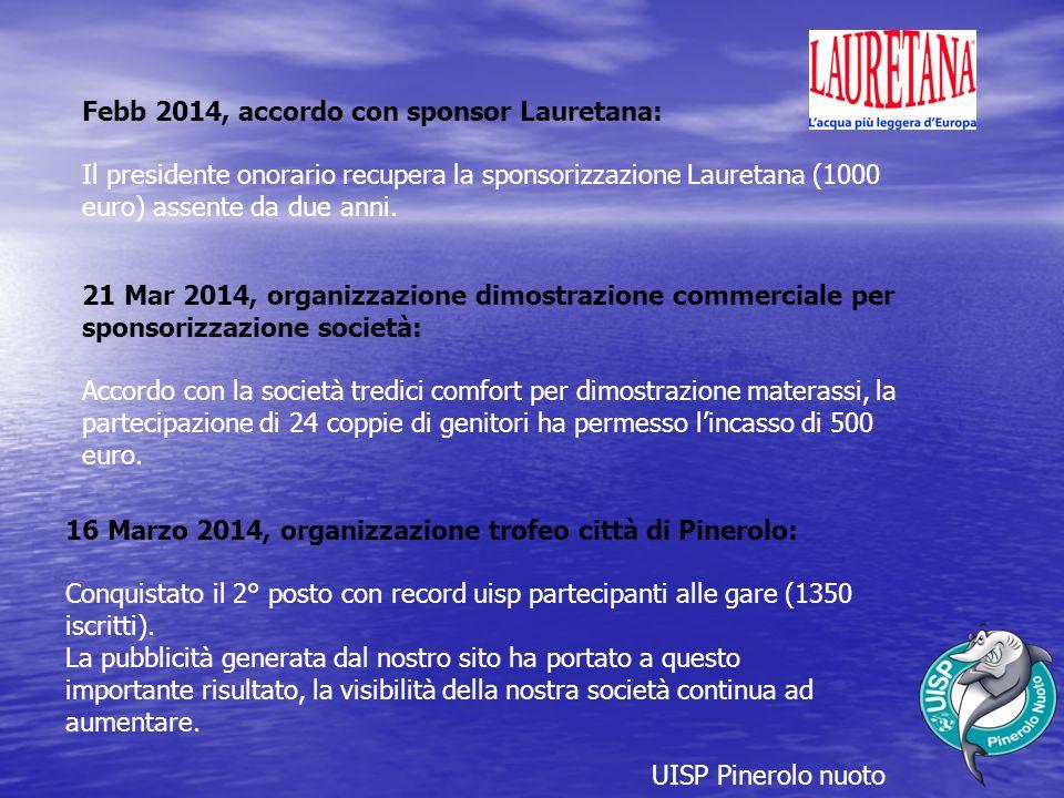 UISP Pinerolo nuoto Febb 2014, accordo con sponsor Lauretana: Il presidente onorario recupera la sponsorizzazione Lauretana (1000 euro) assente da due anni.