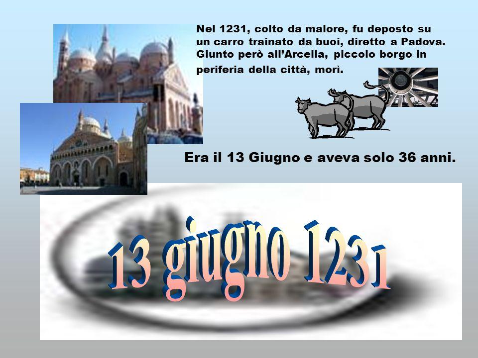 Era il 13 Giugno e aveva solo 36 anni. Nel 1231, colto da malore, fu deposto su un carro trainato da buoi, diretto a Padova. Giunto però all'Arcella,