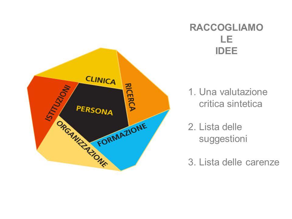 RACCOGLIAMO LE IDEE 1.Una valutazione critica sintetica 2.Lista delle suggestioni 3.Lista delle carenze