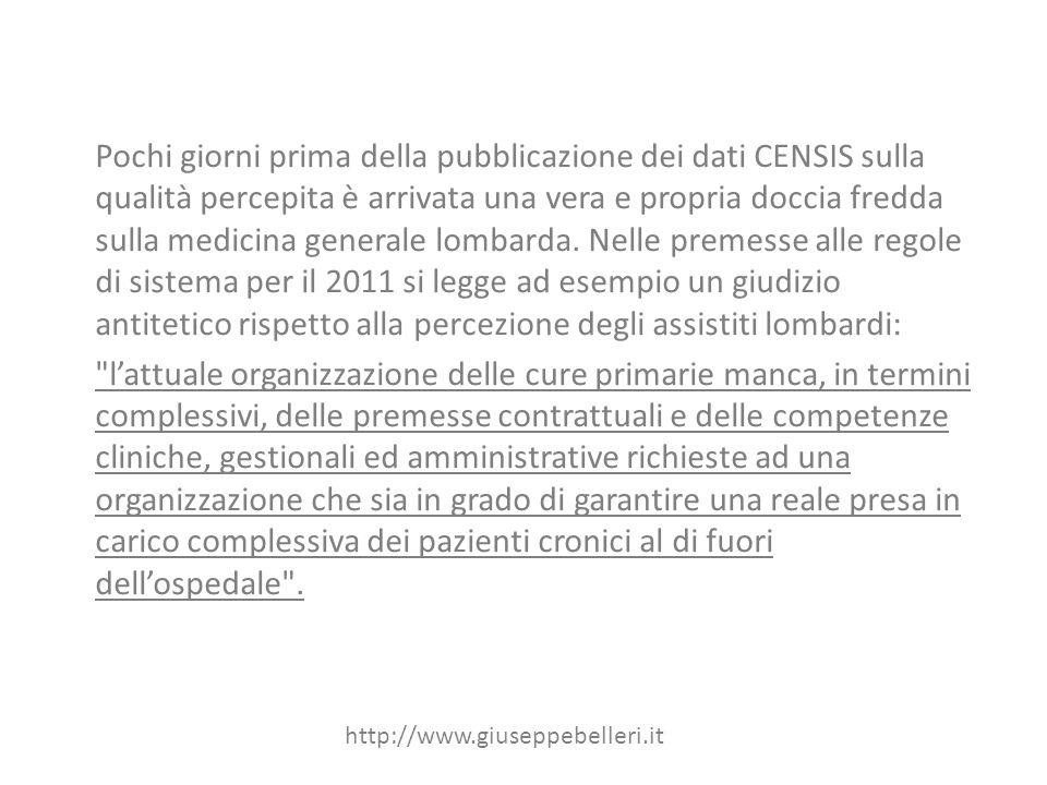 Pochi giorni prima della pubblicazione dei dati CENSIS sulla qualità percepita è arrivata una vera e propria doccia fredda sulla medicina generale lombarda.