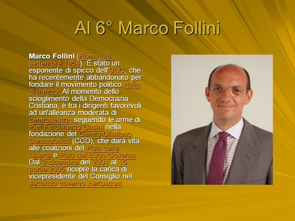 Al 6° Marco Follini Marco Follini (Roma, 26 settembre 1954).