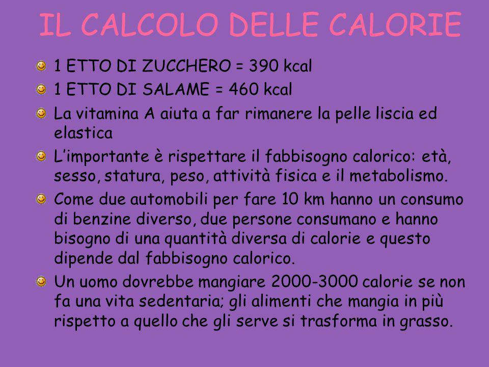 IL CALCOLO DELLE CALORIE 1 ETTO DI ZUCCHERO = 390 kcal 1 ETTO DI SALAME = 460 kcal La vitamina A aiuta a far rimanere la pelle liscia ed elastica L'im
