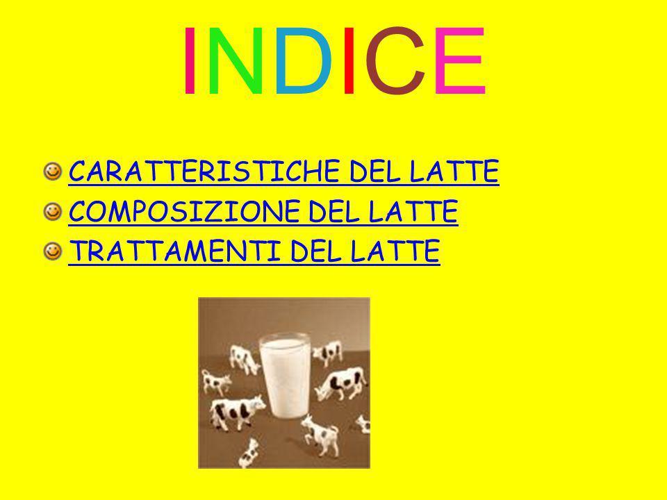 INDICEINDICE CARATTERISTICHE DEL LATTE COMPOSIZIONE DEL LATTE TRATTAMENTI DEL LATTE