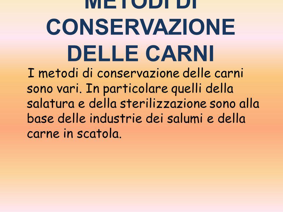 METODI DI CONSERVAZIONE DELLE CARNI I metodi di conservazione delle carni sono vari. In particolare quelli della salatura e della sterilizzazione sono