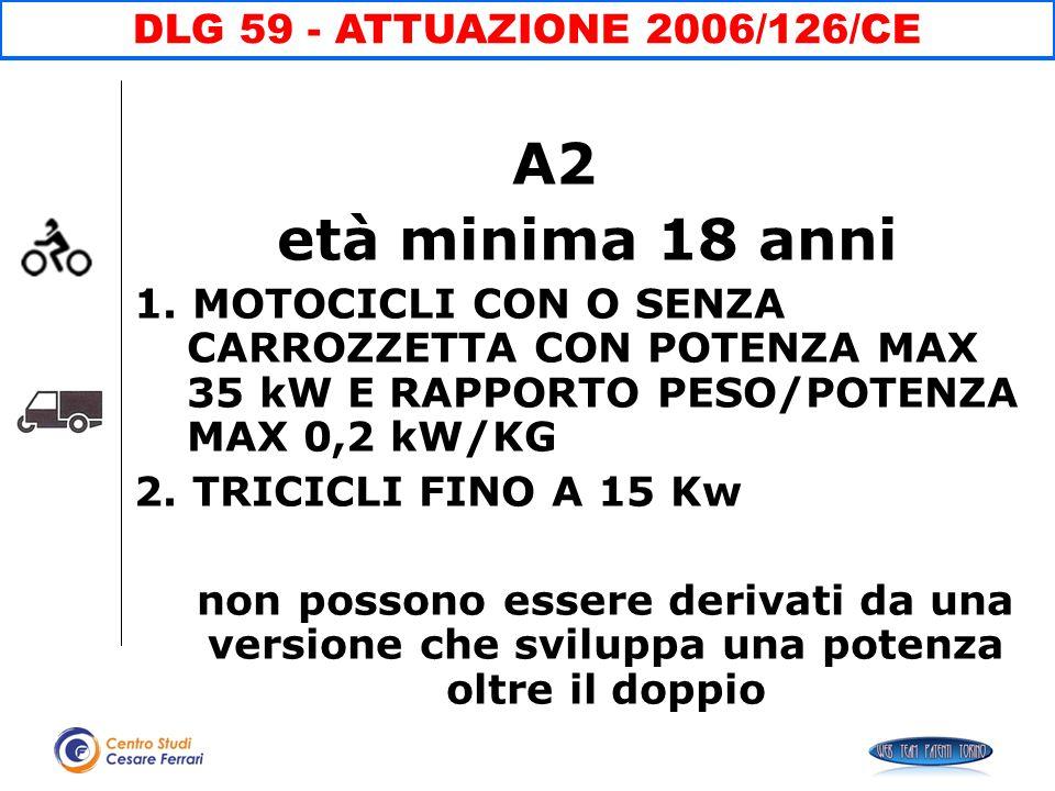 A2 età minima 18 anni 1. MOTOCICLI CON O SENZA CARROZZETTA CON POTENZA MAX 35 kW E RAPPORTO PESO/POTENZA MAX 0,2 kW/KG 2. TRICICLI FINO A 15 Kw non po