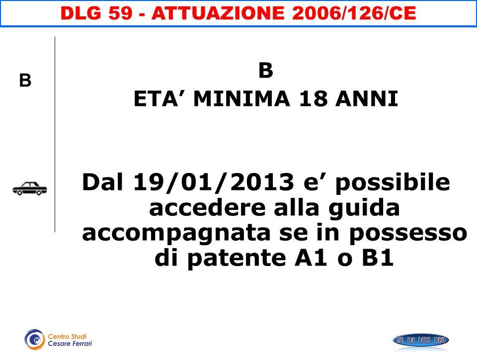 B ETA' MINIMA 18 ANNI Dal 19/01/2013 e' possibile accedere alla guida accompagnata se in possesso di patente A1 o B1 DLG 59 - ATTUAZIONE 2006/126/CE B