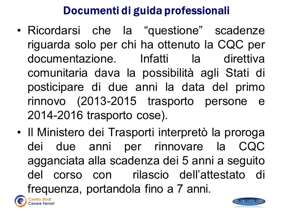 """Ricordarsi che la """"questione"""" scadenze riguarda solo per chi ha ottenuto la CQC per documentazione. Infatti la direttiva comunitaria dava la possibili"""