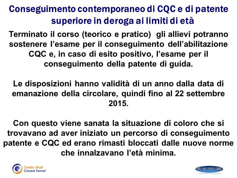 Terminato il corso (teorico e pratico) gli allievi potranno sostenere l'esame per il conseguimento dell'abilitazione CQC e, in caso di esito positivo,