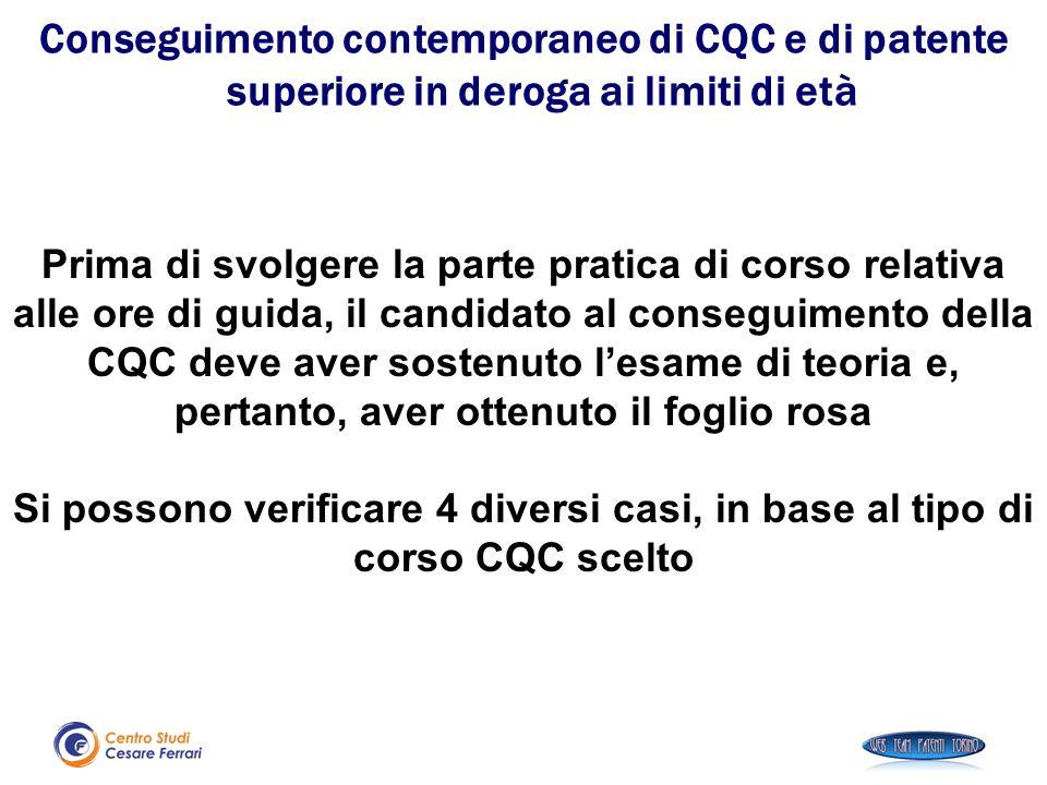Prima di svolgere la parte pratica di corso relativa alle ore di guida, il candidato al conseguimento della CQC deve aver sostenuto l'esame di teoria