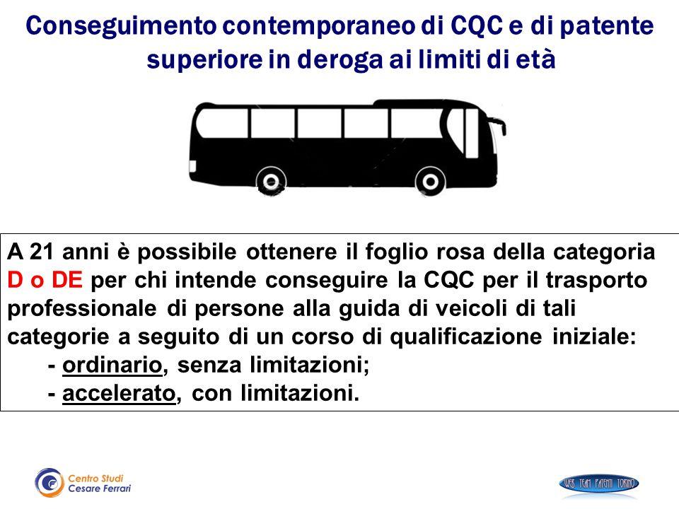 A 21 anni è possibile ottenere il foglio rosa della categoria D o DE per chi intende conseguire la CQC per il trasporto professionale di persone alla