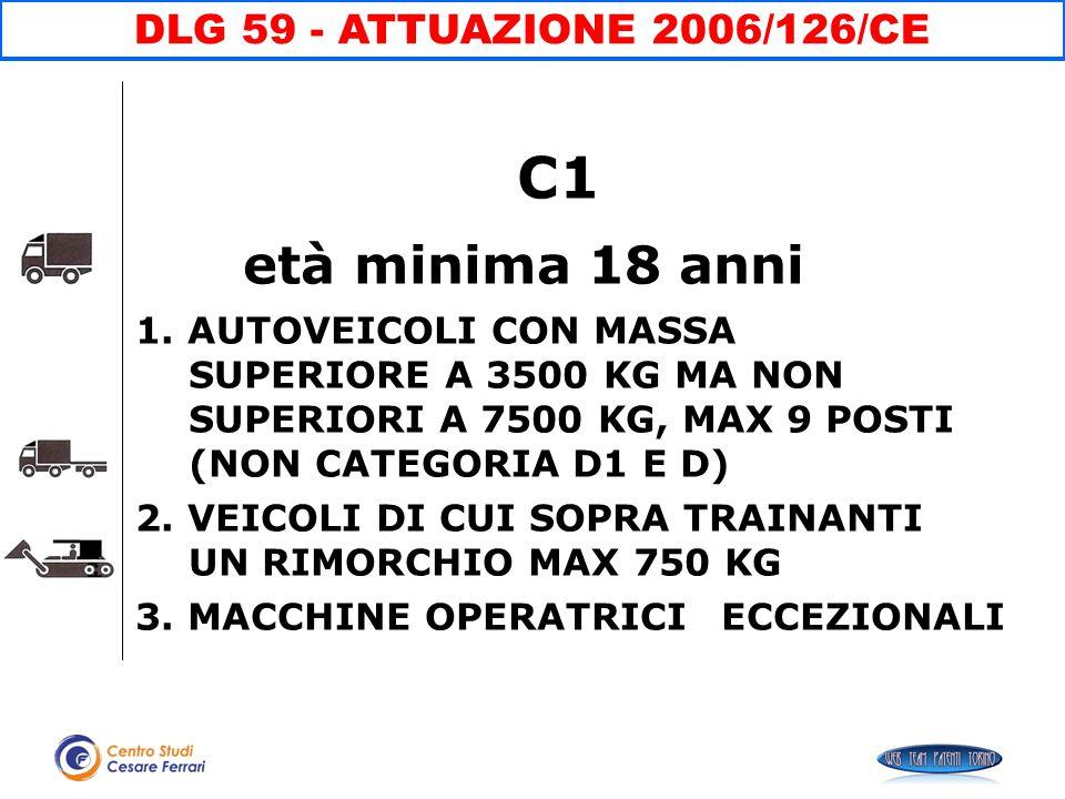 C1 età minima 18 anni 1. AUTOVEICOLI CON MASSA SUPERIORE A 3500 KG MA NON SUPERIORI A 7500 KG, MAX 9 POSTI (NON CATEGORIA D1 E D) 2. VEICOLI DI CUI SO