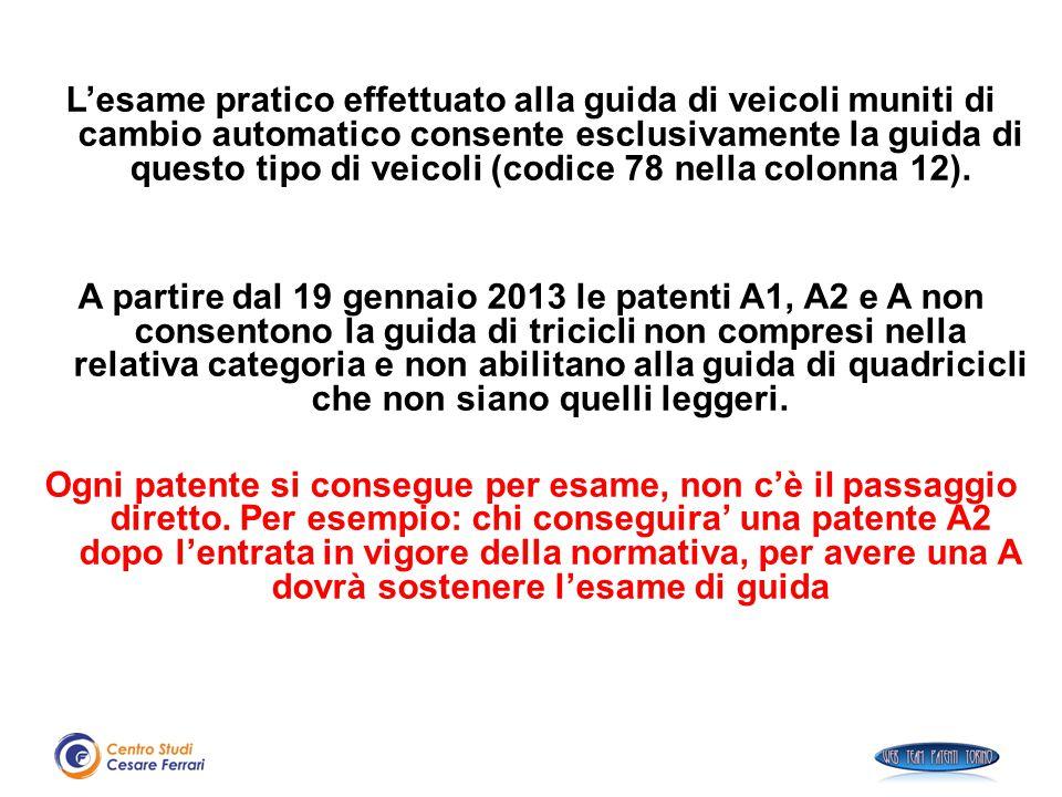 L'esame pratico effettuato alla guida di veicoli muniti di cambio automatico consente esclusivamente la guida di questo tipo di veicoli (codice 78 nel
