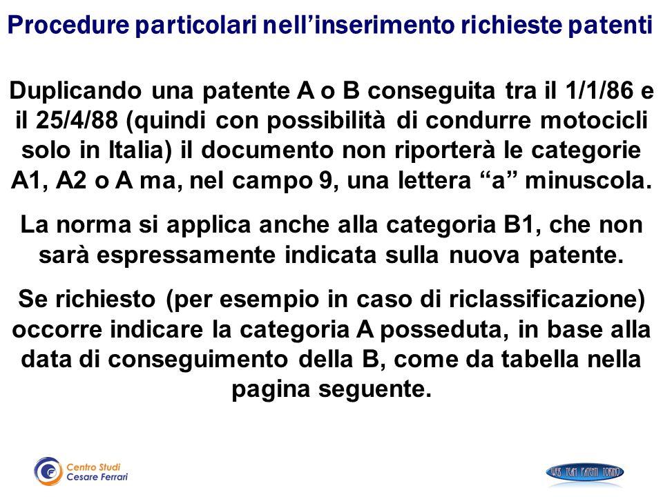 Duplicando una patente A o B conseguita tra il 1/1/86 e il 25/4/88 (quindi con possibilità di condurre motocicli solo in Italia) il documento non ripo