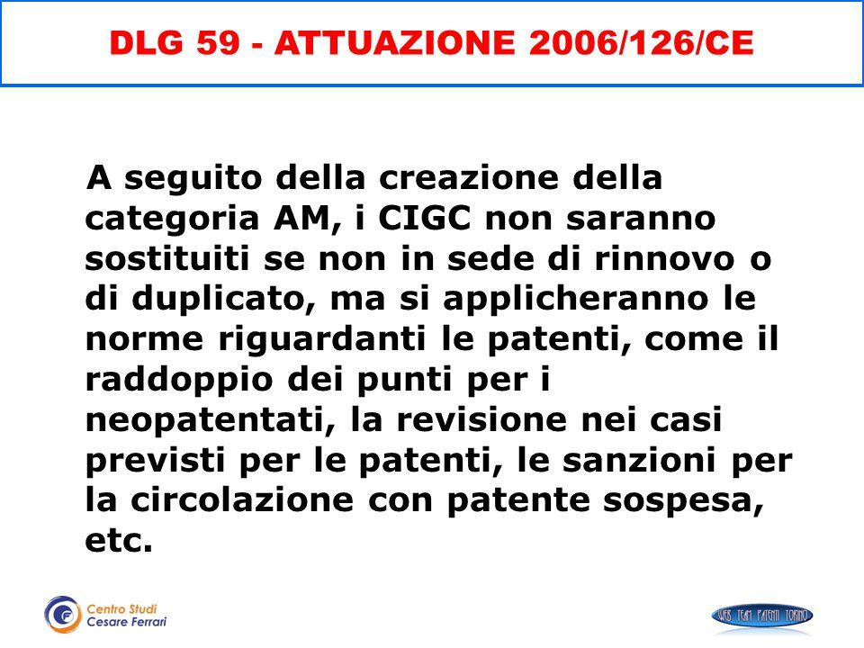 A seguito della creazione della categoria AM, i CIGC non saranno sostituiti se non in sede di rinnovo o di duplicato, ma si applicheranno le norme rig