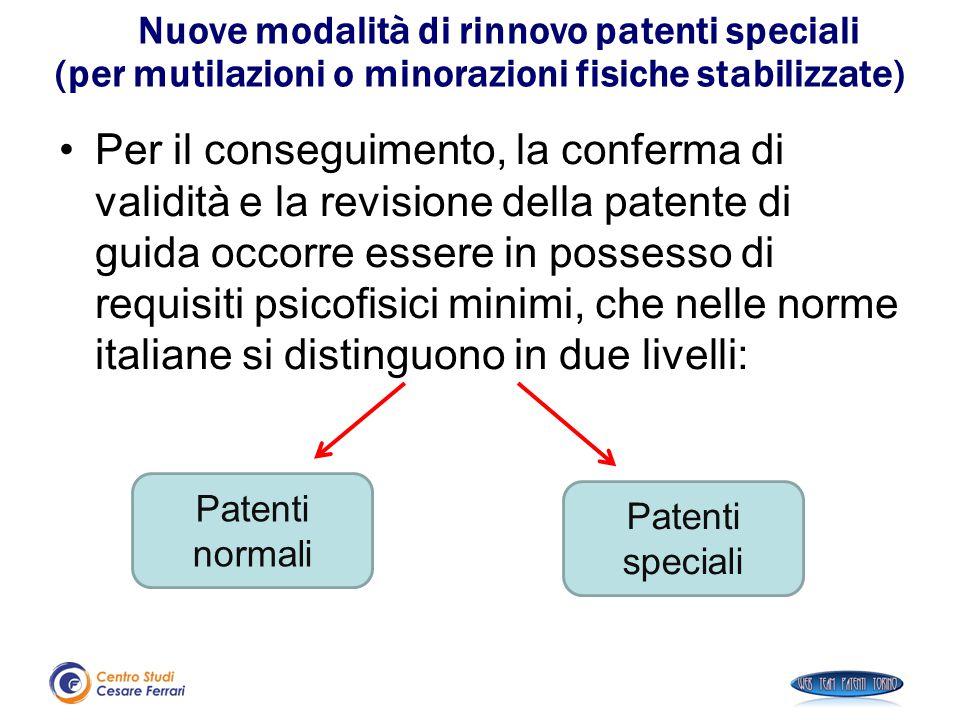 Nuove modalità di rinnovo patenti speciali (per mutilazioni o minorazioni fisiche stabilizzate) Per il conseguimento, la conferma di validità e la rev