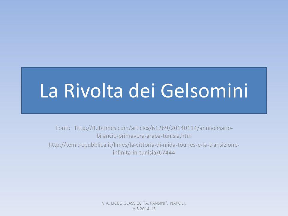 La Rivolta dei Gelsomini Fonti: http://it.ibtimes.com/articles/61269/20140114/anniversario- bilancio-primavera-araba-tunisia.htm http://temi.repubblic