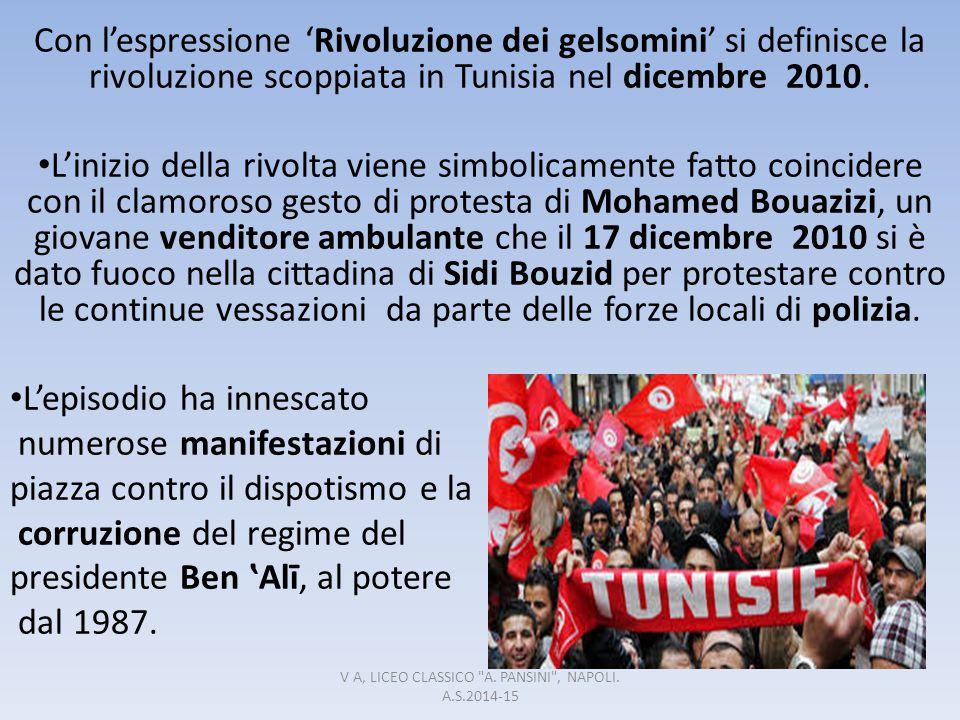 Con l'espressione 'Rivoluzione dei gelsomini' si definisce la rivoluzione scoppiata in Tunisia nel dicembre 2010. L'inizio della rivolta viene simboli