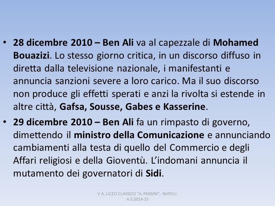 28 dicembre 2010 – Ben Ali va al capezzale di Mohamed Bouazizi. Lo stesso giorno critica, in un discorso diffuso in diretta dalla televisione nazional