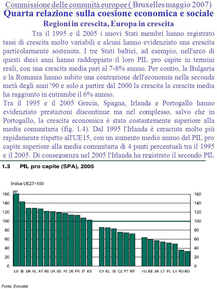 Commissione delle comunità europee ( Bruxelles maggio 2007) Quarta relazione sulla coesione economica e sociale Regioni in crescita, Europa in crescita Tra il 1995 e il 2005 i nuovi Stati membri hanno registrato tassi di crescita molto variabili e alcuni hanno evidenziato una crescita particolarmente sostenuta.