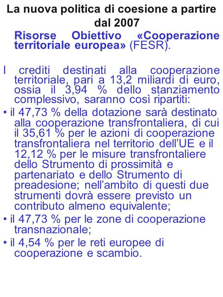 La nuova politica di coesione a partire dal 2007 Risorse Obiettivo «Cooperazione territoriale europea» (FESR). I crediti destinati alla cooperazione t