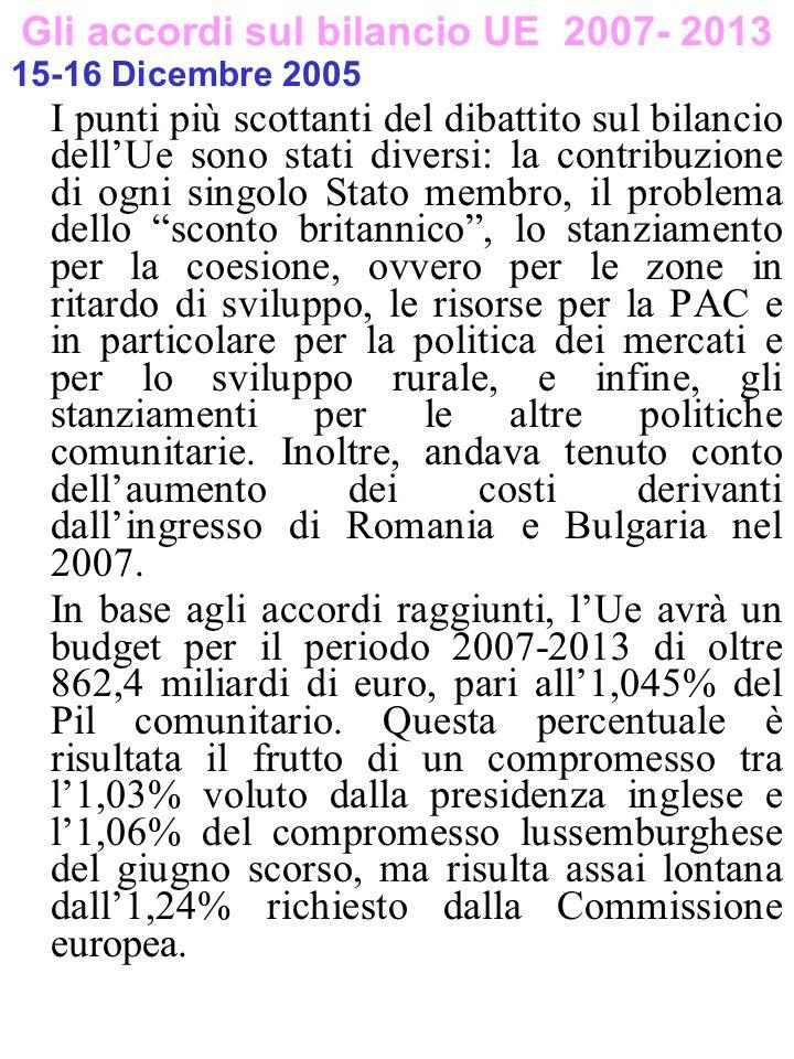 Gli accordi sul bilancio UE 2007- 2013 15-16 Dicembre 2005 I punti più scottanti del dibattito sul bilancio dell'Ue sono stati diversi: la contribuzio