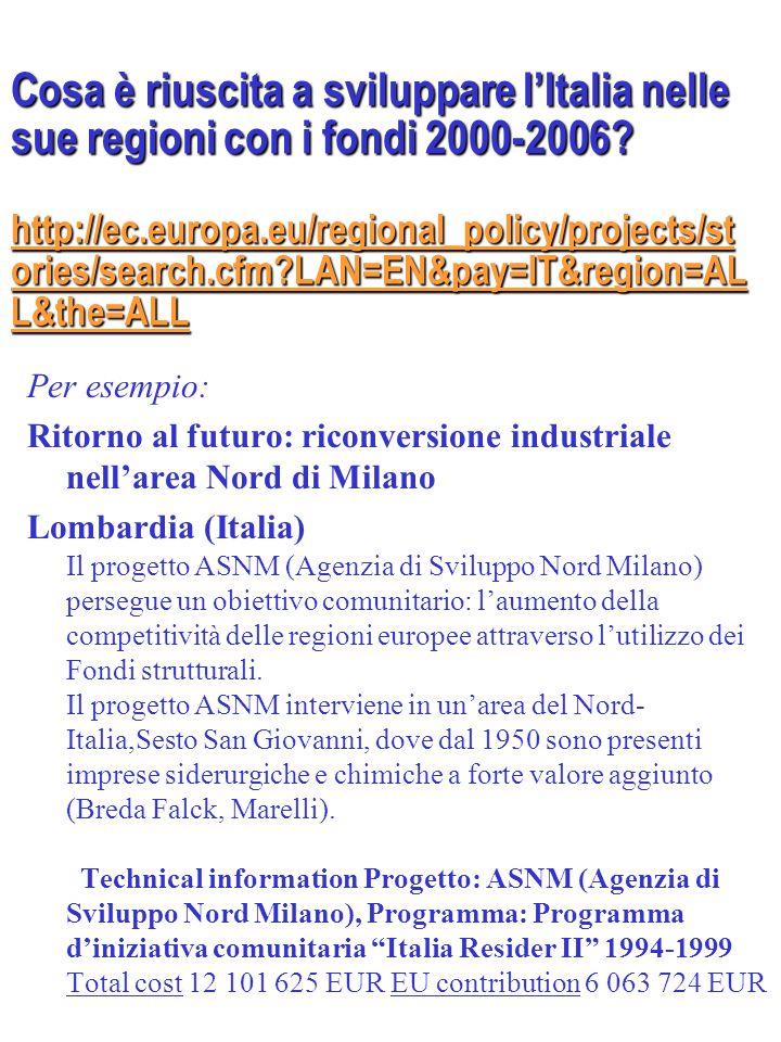 Da studiare:  2004 INFOREGIO La nuova politica di coesione a partire dal 2007 Proposte legislative della Commissione europea per la riforma della politica di coesione (periodo di programmazione 2007-2013) Nota sintetica, Commissione europea  Le politiche regionali dell'Unione europea G.
