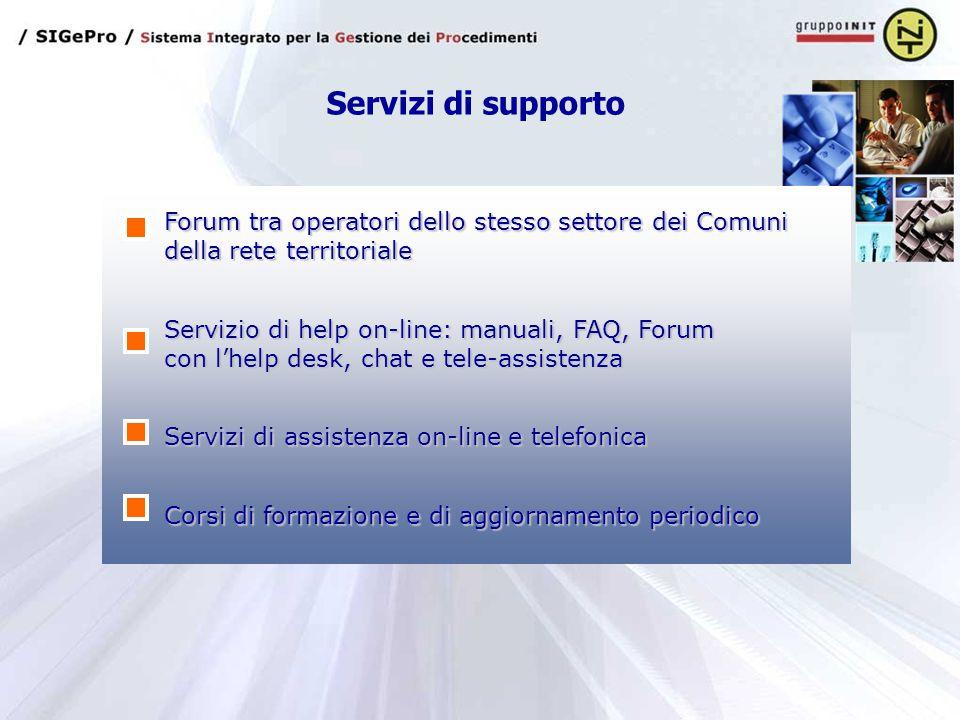 Servizi di supporto Forum tra operatori dello stesso settore dei Comuni della rete territoriale Servizi di assistenza on-line e telefonica Corsi di formazione e di aggiornamento periodico Servizio di help on-line: manuali, FAQ, Forum con l'help desk, chat e tele-assistenza