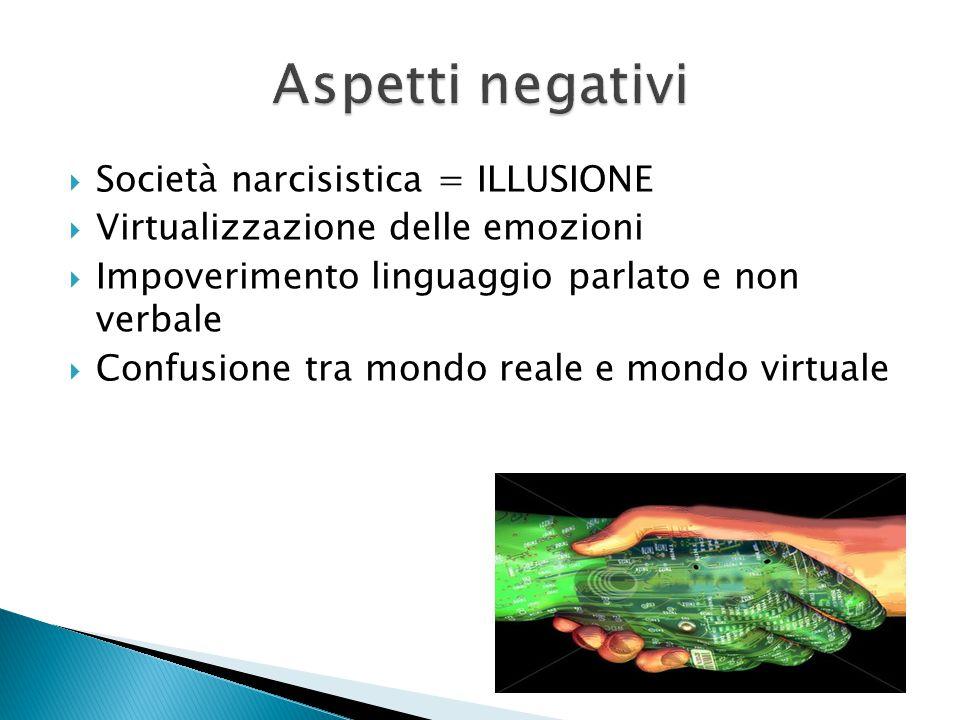  Società narcisistica = ILLUSIONE  Virtualizzazione delle emozioni  Impoverimento linguaggio parlato e non verbale  Confusione tra mondo reale e m