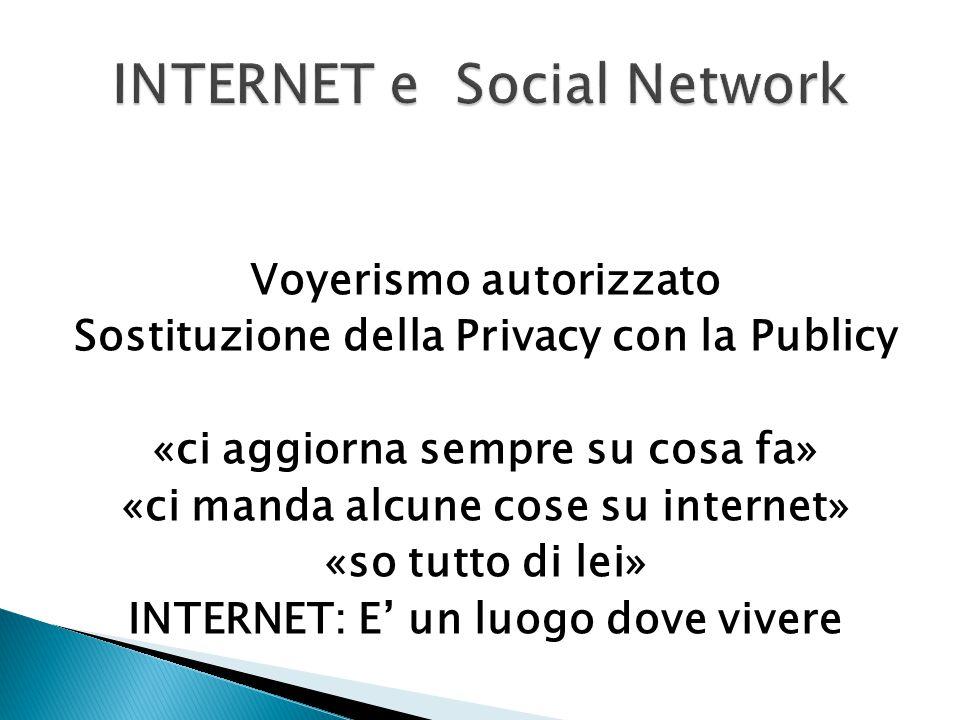 Voyerismo autorizzato Sostituzione della Privacy con la Publicy «ci aggiorna sempre su cosa fa» «ci manda alcune cose su internet» «so tutto di lei» I