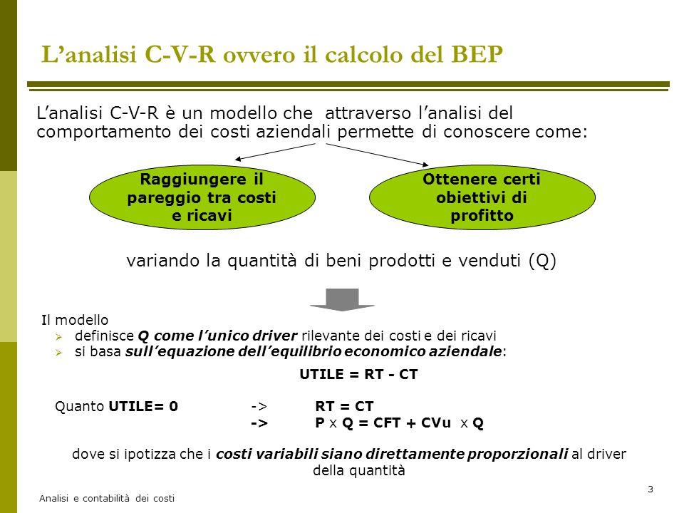 Analisi e contabilità dei costi 4 B.E.P.= break even point (o punto di rottura) Risolvendo l'equazione RT=CT Troviamo la quantità di equilibrio: Q*= CF (p-v) e il fatturato di equilibrio: RT*= CF 1- v/p Il grafico dell'analisi C-V-R Dove: (p-v) rappresenta il margine di contribuzione unitario (p-v) x Q rappresenta il margine di contribuzione totale (1-v/p) o anche (1-β) rappresenta l'incidenza del margine di contribuzione sul prezzo, infatti: 1- v = p - v p p CT =CFT+CVT Q: quantità di output CFT: costi fissi totali CVT: costi variabili totali RT: ricavi totali C,R Margine di contribuzione totale B.E.P.