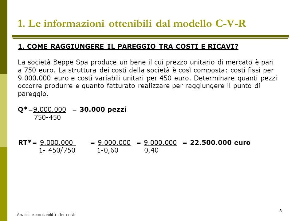 Analisi e contabilità dei costi 8 1. Le informazioni ottenibili dal modello C-V-R 1. COME RAGGIUNGERE IL PAREGGIO TRA COSTI E RICAVI? La società Beppe