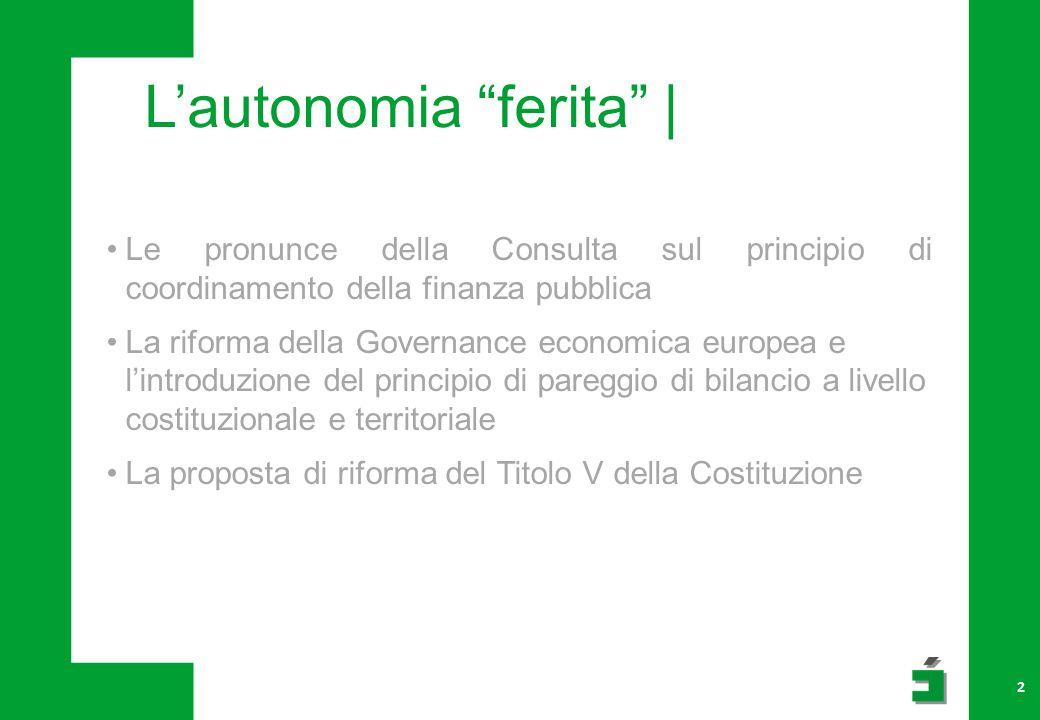 L'autonomia ferita | 2 Le pronunce della Consulta sul principio di coordinamento della finanza pubblica La riforma della Governance economica europea e l'introduzione del principio di pareggio di bilancio a livello costituzionale e territoriale La proposta di riforma del Titolo V della Costituzione
