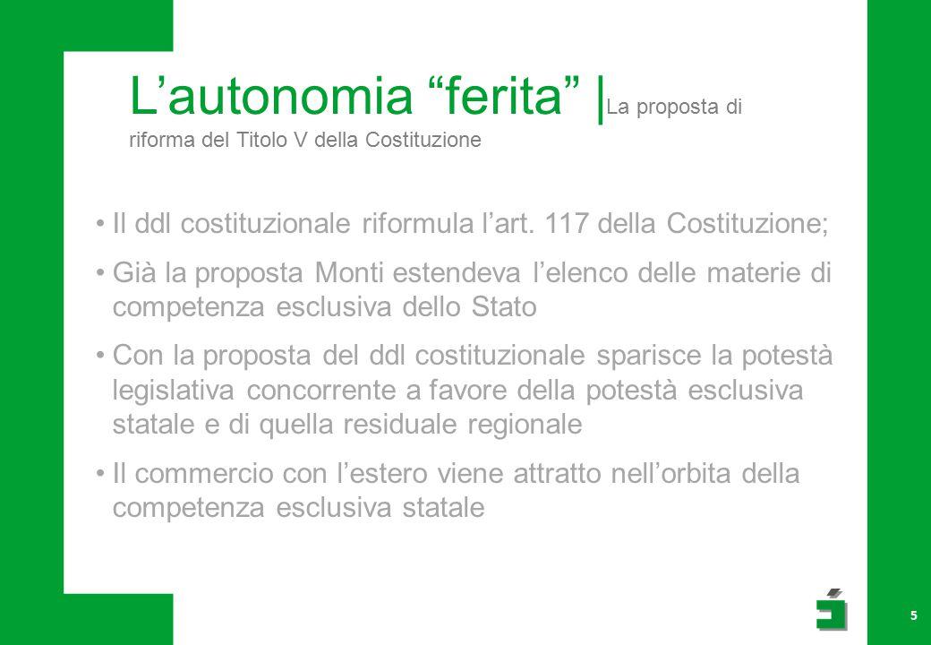 L'autonomia ferita | La proposta di riforma del Titolo V della Costituzione 5 Il ddl costituzionale riformula l'art.