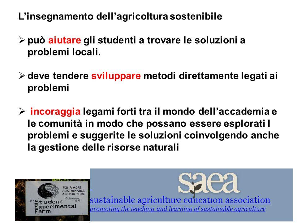 L'insegnamento dell'agricoltura sostenibile  può aiutare gli studenti a trovare le soluzioni a problemi locali.  deve tendere sviluppare metodi dire
