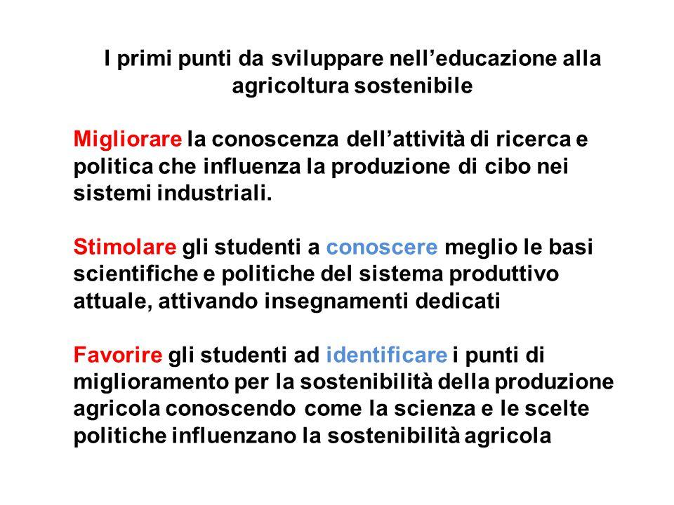 I primi punti da sviluppare nell'educazione alla agricoltura sostenibile Migliorare la conoscenza dell'attività di ricerca e politica che influenza la