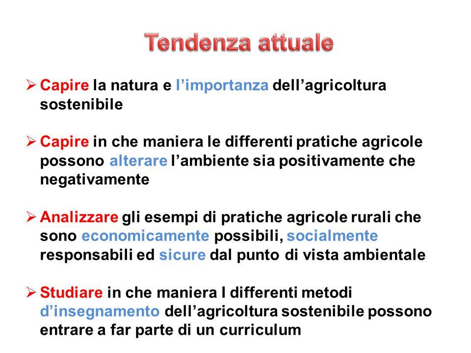  Capire la natura e l'importanza dell'agricoltura sostenibile  Capire in che maniera le differenti pratiche agricole possono alterare l'ambiente sia