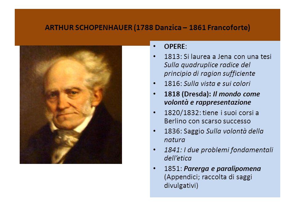 ARTHUR SCHOPENHAUER (1788 Danzica – 1861 Francoforte) OPERE: 1813: Si laurea a Jena con una tesi Sulla quadruplice radice del principio di ragion suff