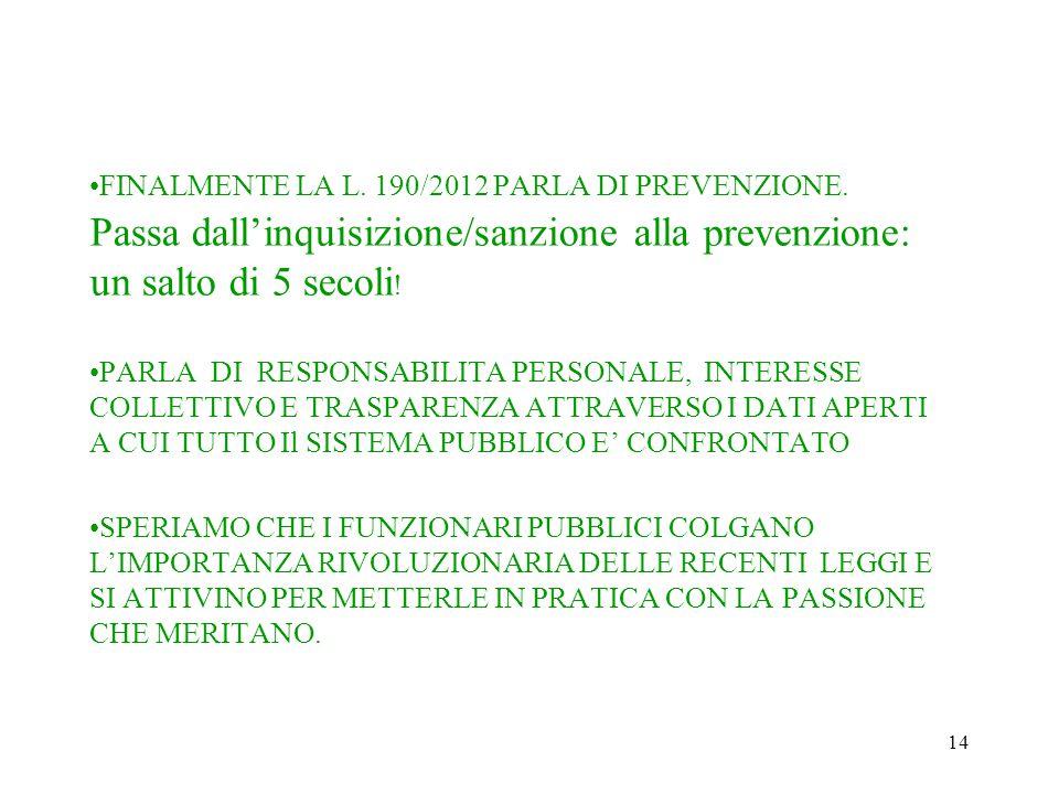 14 FINALMENTE LA L. 190/2012 PARLA DI PREVENZIONE. Passa dall'inquisizione/sanzione alla prevenzione: un salto di 5 secoli ! PARLA DI RESPONSABILITA P
