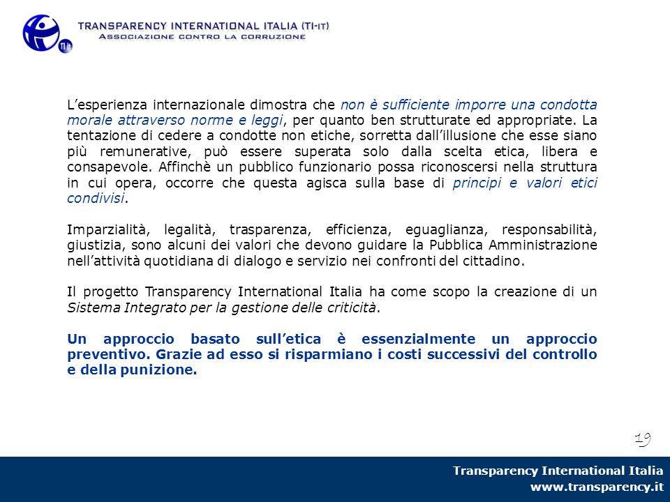 Transparency International Italia www.transparency.it 19 L'esperienza internazionale dimostra che non è sufficiente imporre una condotta morale attrav